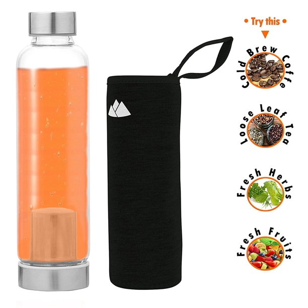 wealers hot or cold glass tea tumbler bottle borosilicate glass tea mug glass water bottle with flavor dispenser cup 550 ml with insulated sleeve walmart com walmart com walmart com