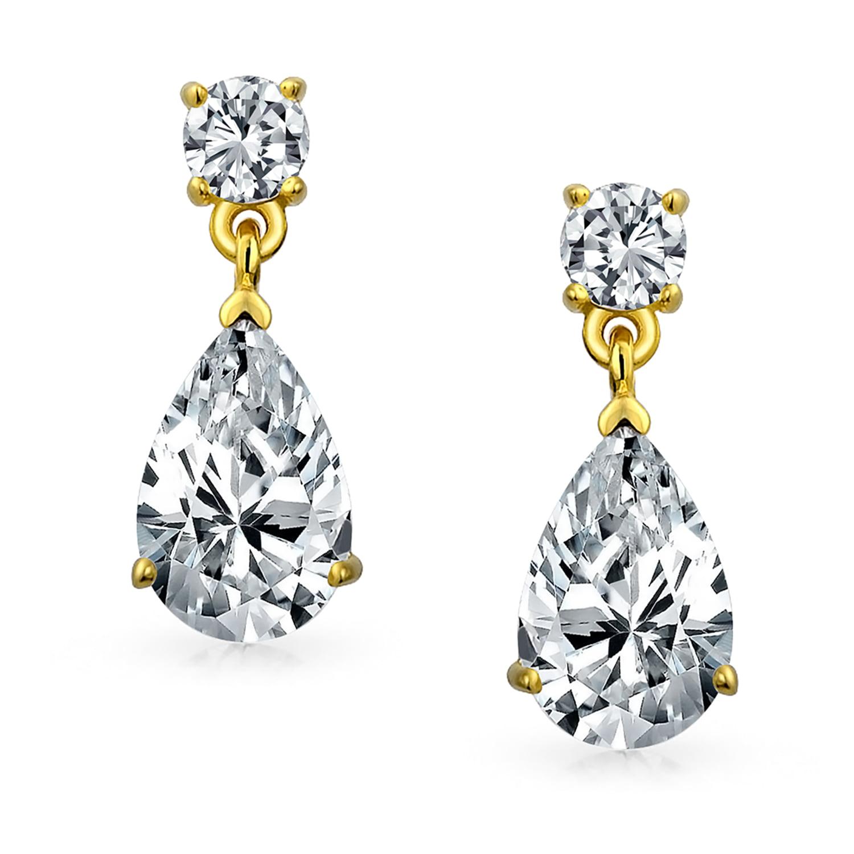 Long classic teardrop cubic zirconia drop wedding evening bridal cocktail bridesmaid earrings silver