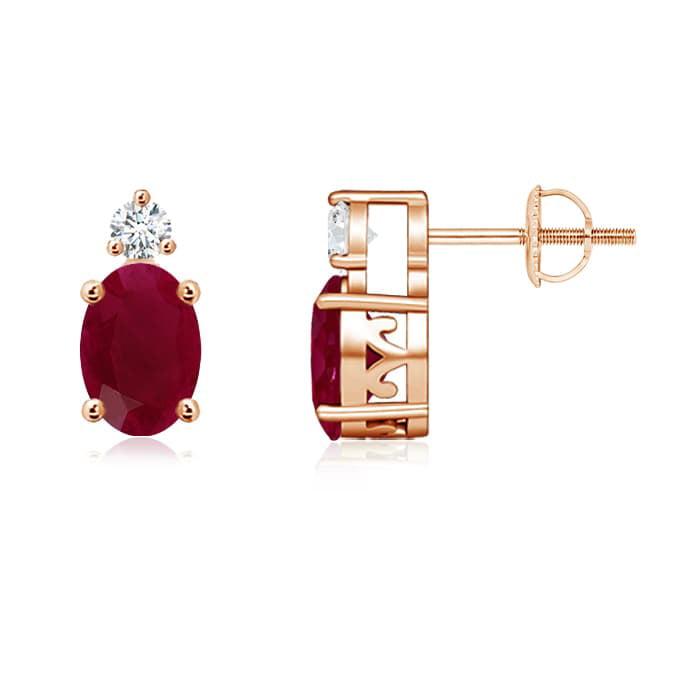 Angara 14k Rose Gold Basket Stud Earrings With Ruby Gemstone wtPhnKvn