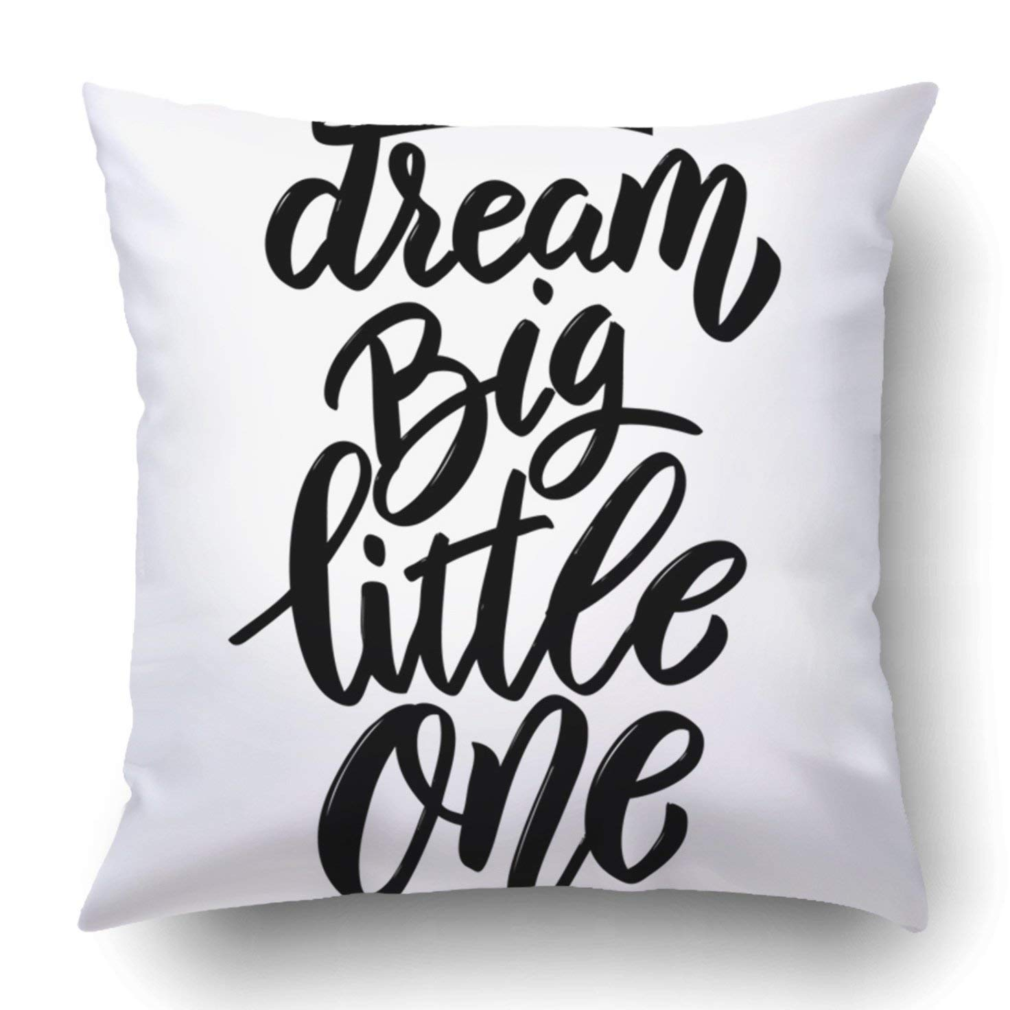 BPBOP Black Birth Dream Big Little One Lettering Phrase White Design For Brush Child Pillowcase Cover Cushion 18x18 inch
