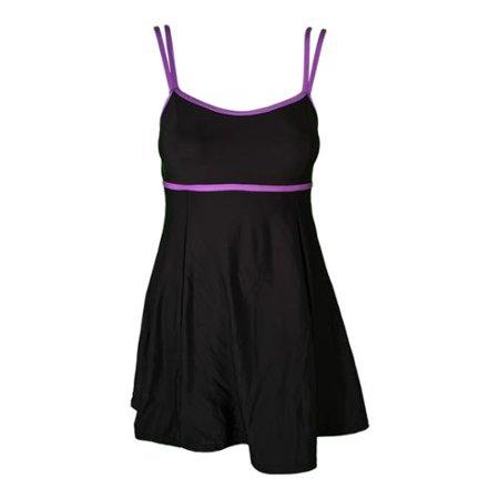 Womens Black Lilac Double Strap One Piece Swim Dress Plus Size 24W Adult