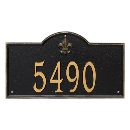 Personalized Whitehall Products Bayou Vista Estate Wall House Numbers Plaque In Black Gold