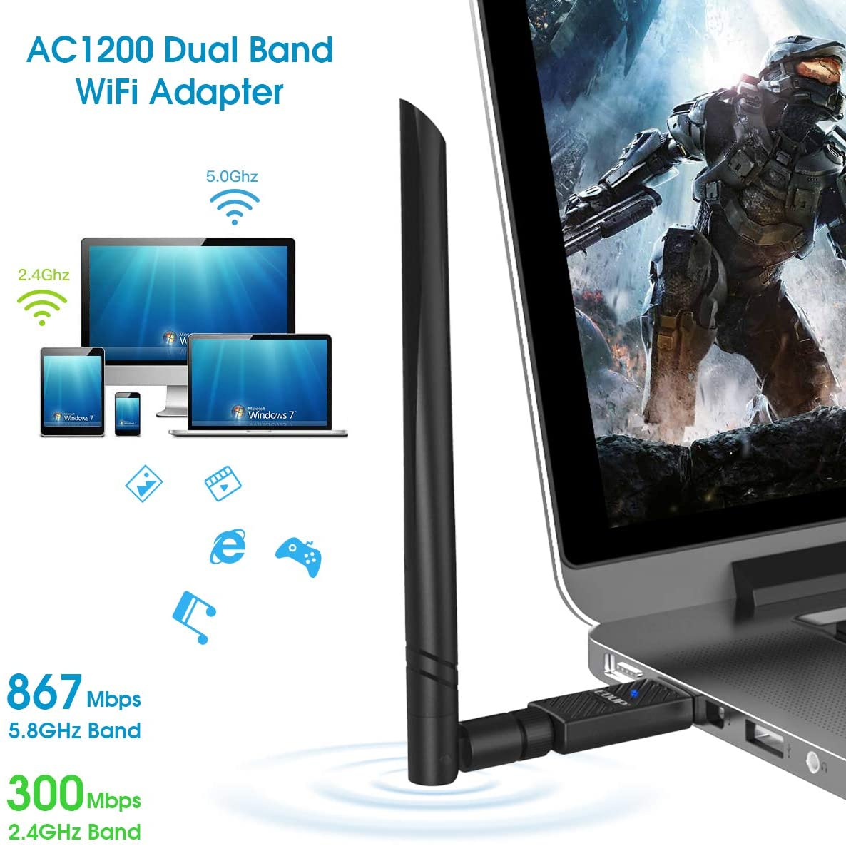 Mac OS X 10.6-10.15 EDUP USB 3.0 Bluetooth WiFi Adapter AC1200Mbps with 6dBi Antenna 2.4G//5Ghz for PC USB Wi-Fi Dongle Bluetooth 4.1 Receiver Wireless Network Adapters for Windows 10//8//8.1//7
