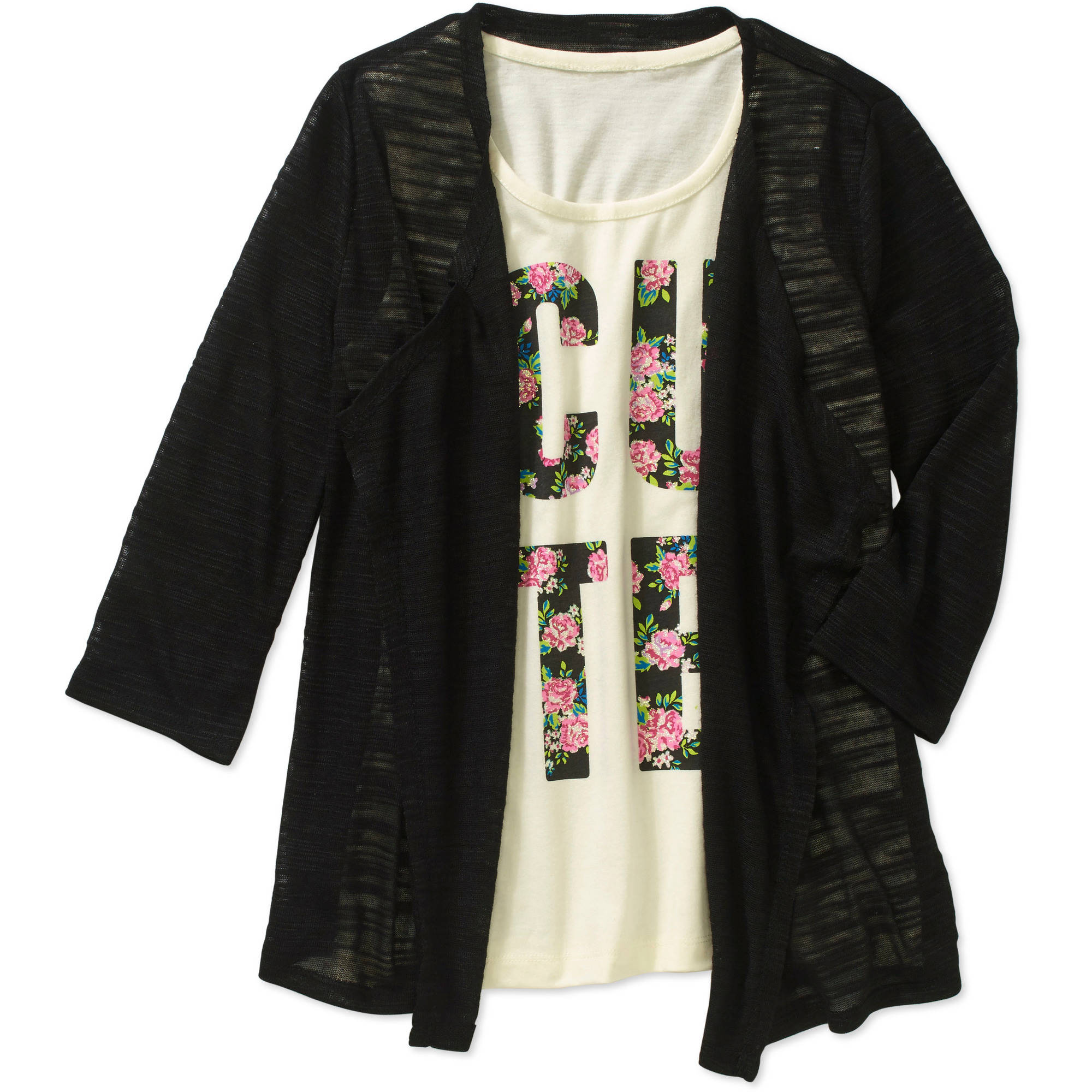 Faded Glory Girls' Top and Cozy Wrap 2Fer