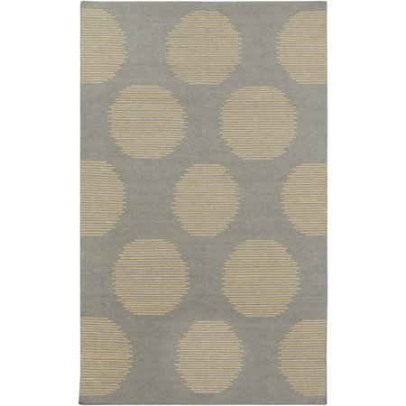 5' x 8' Filtered Sun Silhouette Charcoal Gray and Beige Reversible Hand Woven Wool Area Throw Rug