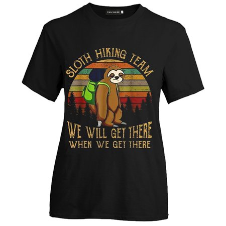 TURNTABLE LAB Sloth Hiking Team We Will Letters Funny Vintage T-shirt Women Casual Blouse (Visage Labs)