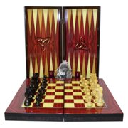 19 in. Red Grain Print Folding Backgammon with Chess and Checkers Set