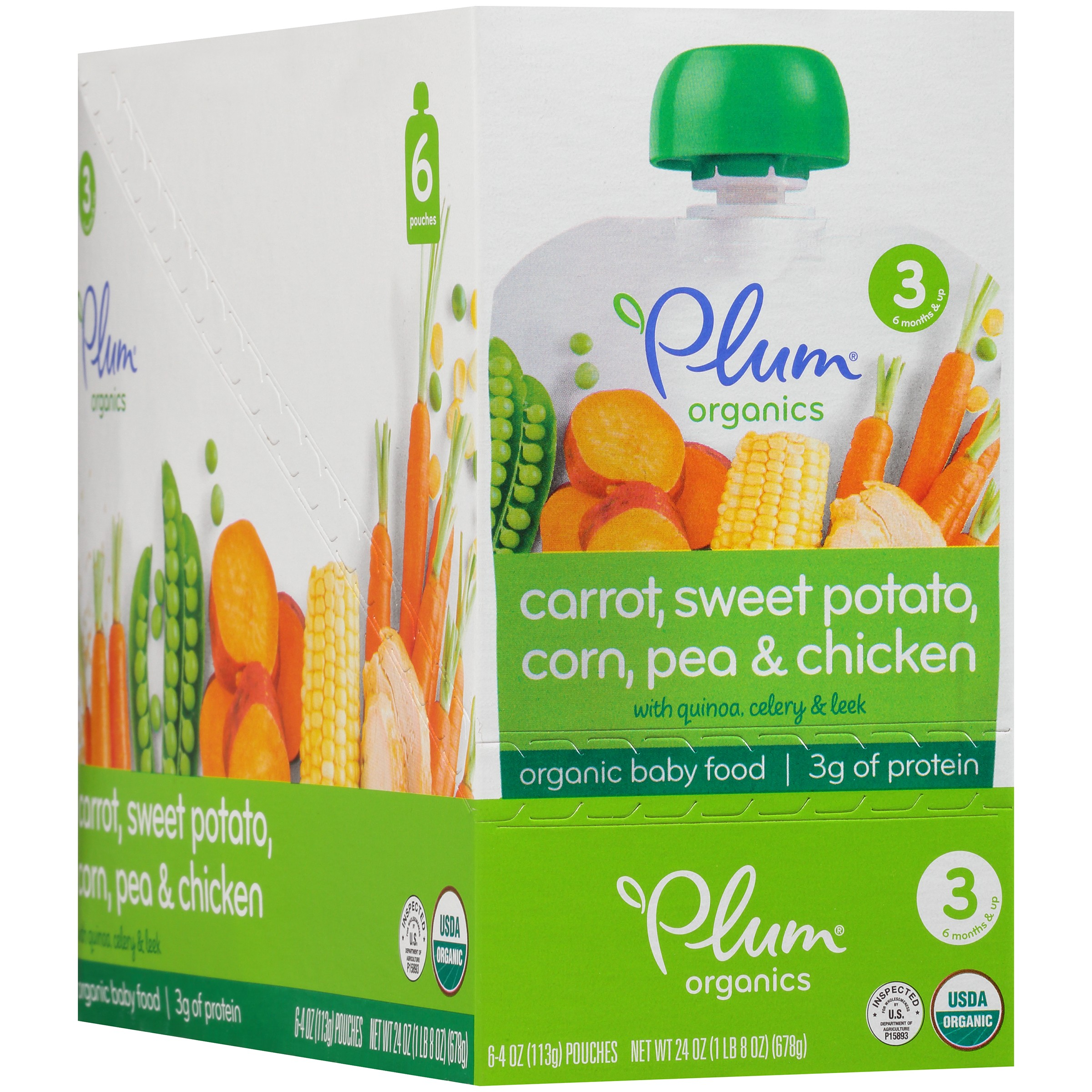 Plum Organics stage 3 Quinoa & Leeks with Chicken + Tarragon Organic Baby Food 6-4 oz. Pouches