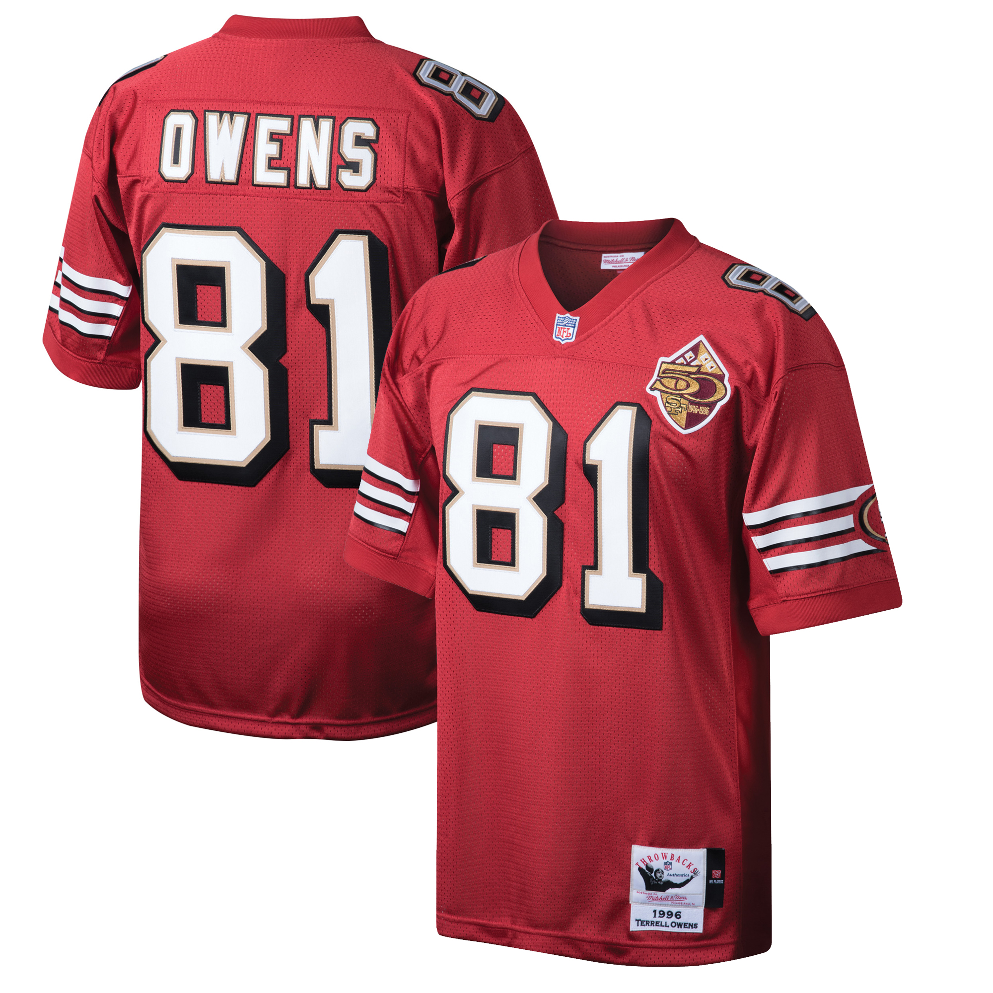 Terrell Owens San Francisco 49ers Mitchell & Ness Throwback Authentic Retired Player Jersey - Scarlet