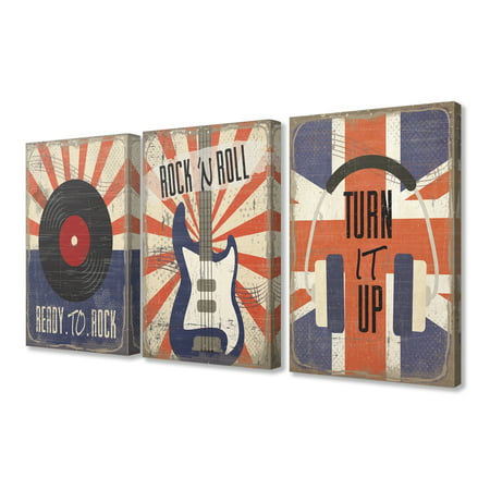The Kids Room by Stupell Orange and Blue Rock And Roll Music Set of 3 3pc Stretched Canvas Art Set, 16 x 1.5 x - Room Roll