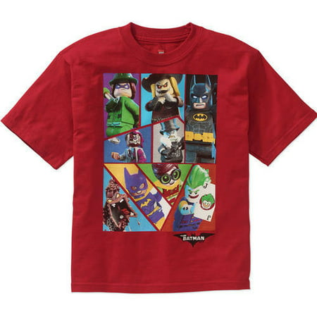 LEGO Boys' Batman Movie Red Group Graphic Tee - Red Batman