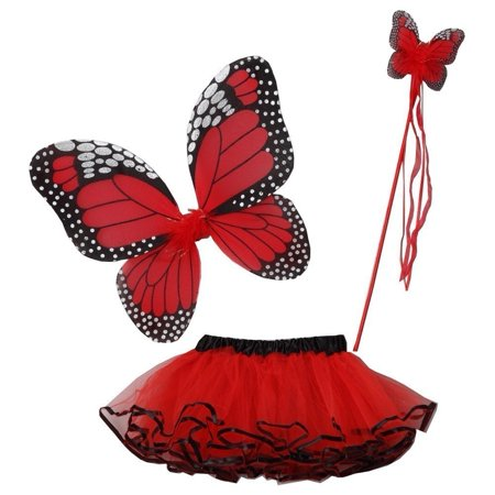 Little Girls Multiple Colors Butterfly Wings Wand Halloween Tutu 3 Pcs Set (Couture Costume D'halloween)