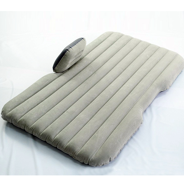 Car Air Bed Inflatable Mattress Back Seat Cushion + 2 Pillows For Travel Camping Light Gray