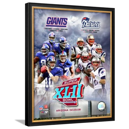 Super Bowl XLII Giants vs. Patriots Framed Photographic Print Wall Art  - (Super Bowl Giants Vs Patriots 2007 Highlights)