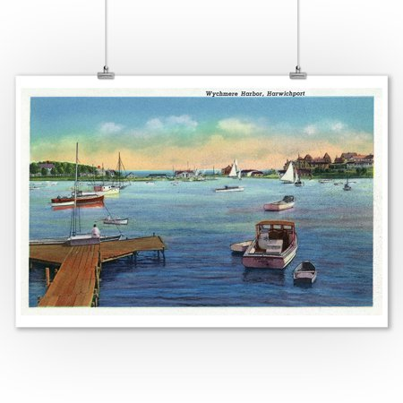 Cape Cod, Massachusetts - View of the Harwichport Wychmere Harbor - Vintage Halftone (9x12 Art Print, Wall Decor Travel Poster)