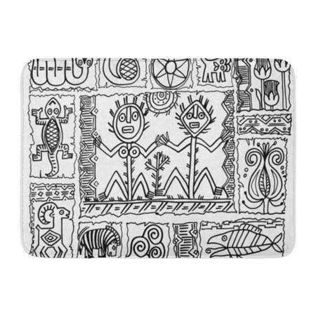 GODPOK Deer Black Primitive Abstract 3 Cave African Rug Doormat Bath Mat 23.6x15.7 inch Primitive Welcome Rug