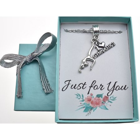 Little Girls I love gymnastics necklace in silver toned metal on silver stainless steel cable chain. Little girls jewelry. Gymnastics.