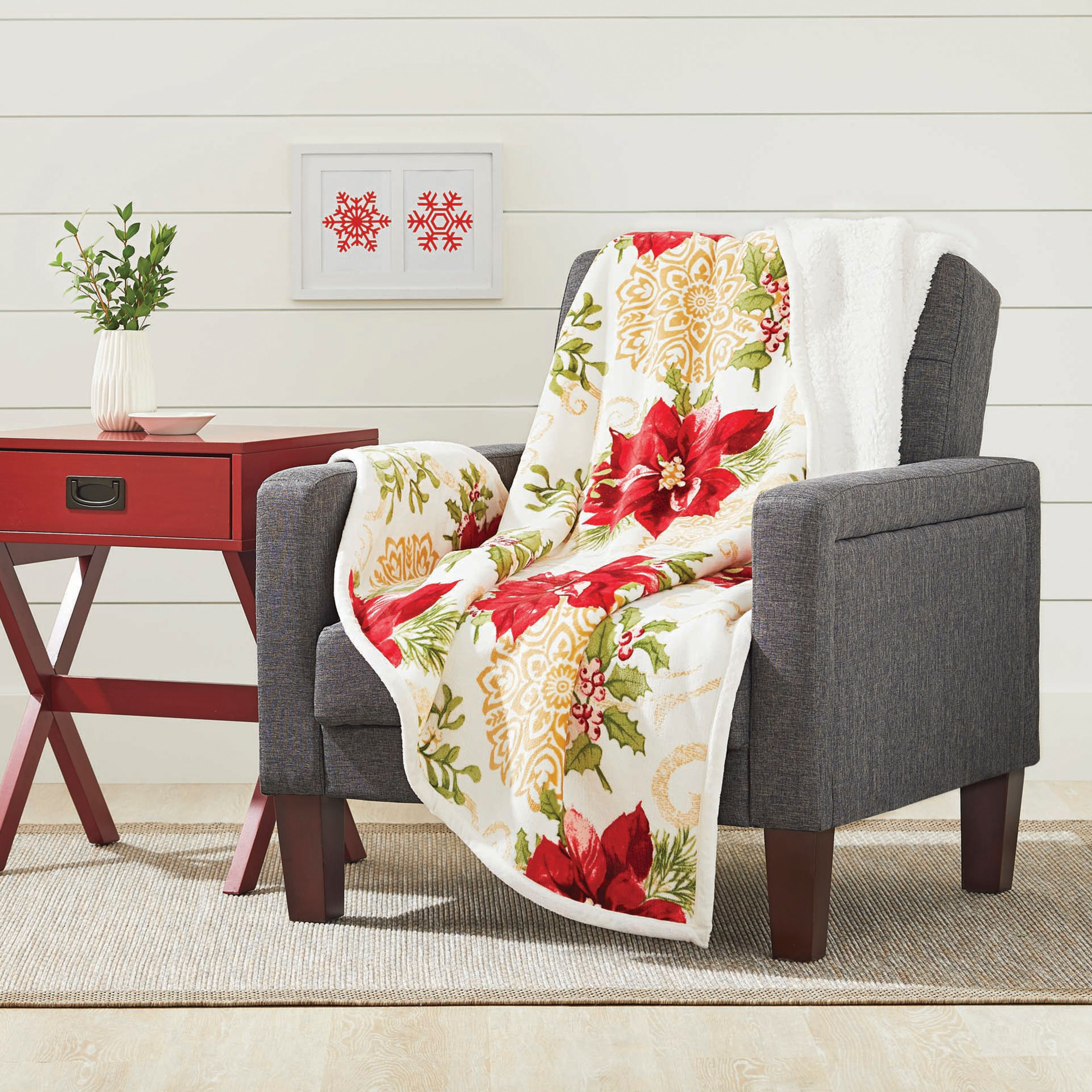 Better Homes and Gardens Holiday Velvet Plush Reverse to Sherpa Throw Blanket