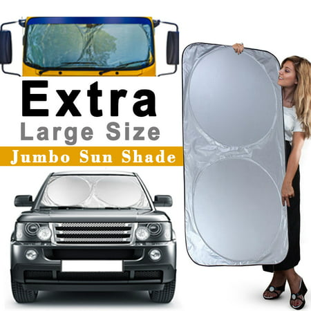"iClover Car Windshield Sun Shade, Block Sunlight Rays Ice Rains Snows Dusts Summer Winter Applicable for Cars Trucks Vans SUV (75""x35"")"