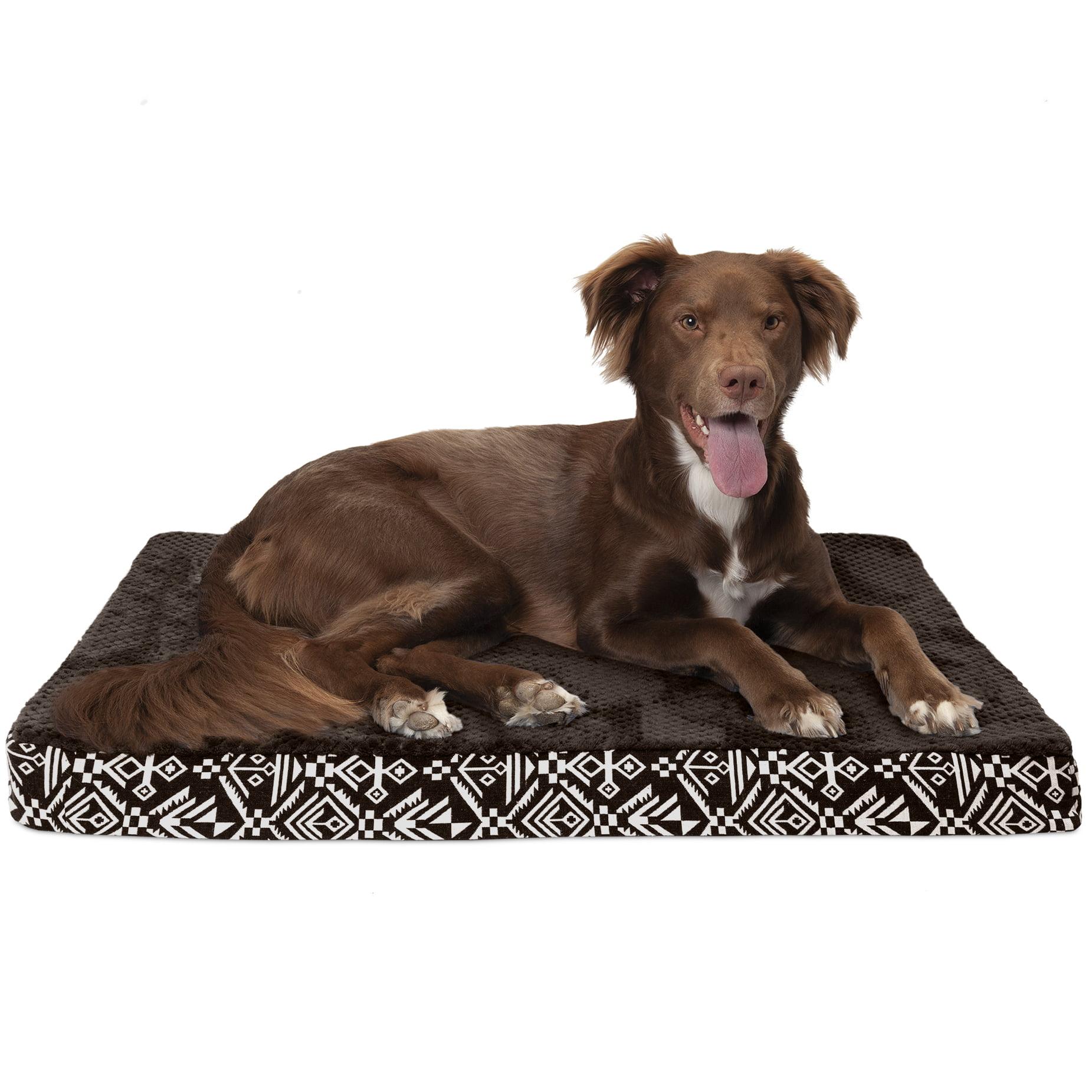 FurHaven Pet Dog Bed | Deluxe Cooling Gel Memory Foam Orthopedic Plush Kilim Mattress Pet Bed for Dogs & Cats, Southwest Espresso, Large