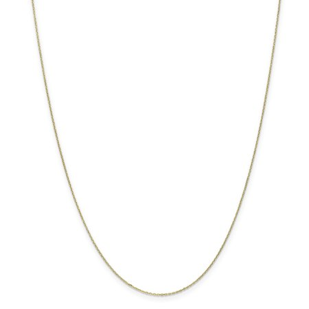 10kt Yellow Gold .8mm Link Cable Chain Necklace 20 Inch Pendant Charm Round Fine Jewelry Ideal Gifts For Women Gift Set From - Time Charm 10kt Gold Jewelry