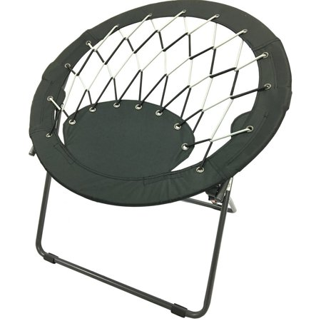 Campzio Round Folding Bungee Dish Chair Black Cp0004