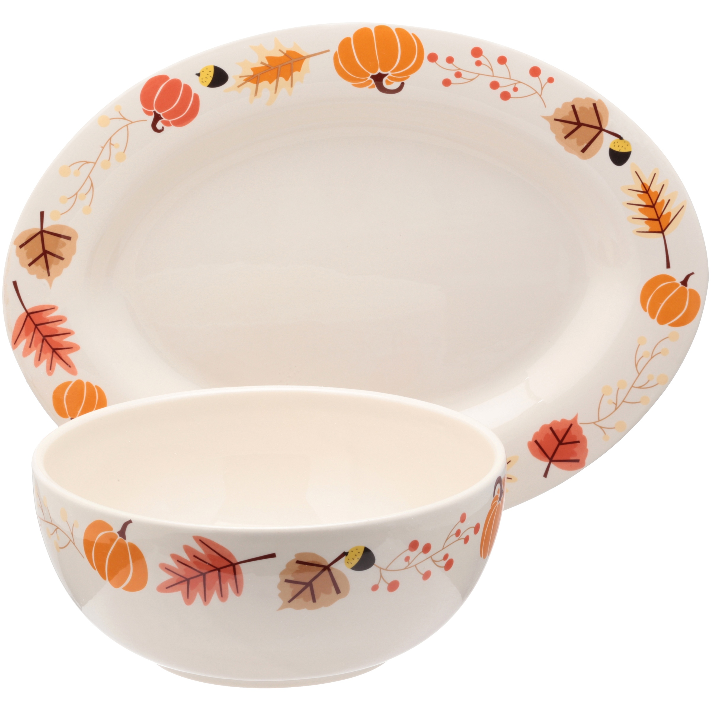 Mainstays™ Ironstone Leaf Pumpkin Platter and Serving Bowl 2 pc Box