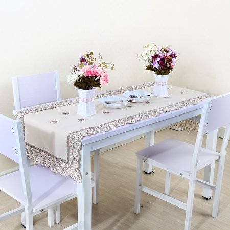Unique Bargains Light Beige Rose Flower Embroidered Lace Tablecloth For Rectangular Tables