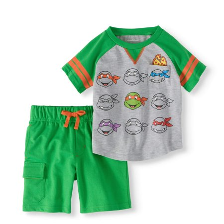 Teenage Mutant Ninja Turtles Toddler Boy Baseball T-shirt & French Terry Shorts 2pc Outfit Set