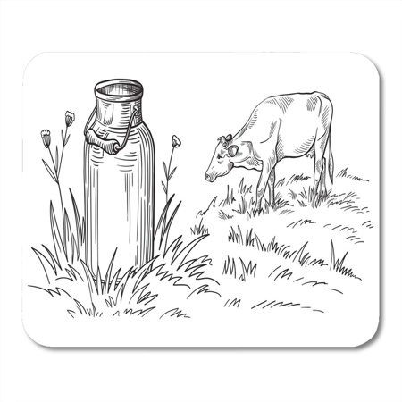 KDAGR Dairy Doodle Milk Cans Grass Country Sketch Cow Drawing Mousepad Mouse Pad Mouse Mat 9x10 - Country Fresh Dairy