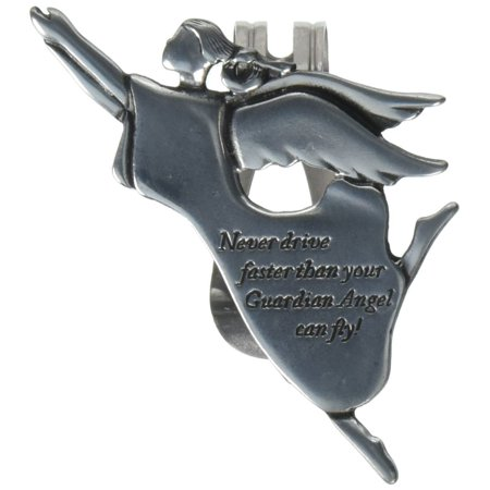 KVC236 Angel Visor Clip, Never Drive Faster, 2-3/8-Inch, Reads Never drive faster than your guardian angel can fly By Cathedral Art