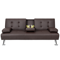 Walnew Modern PU Leather Convertible Futon with Cupholders & Pillows, Brown