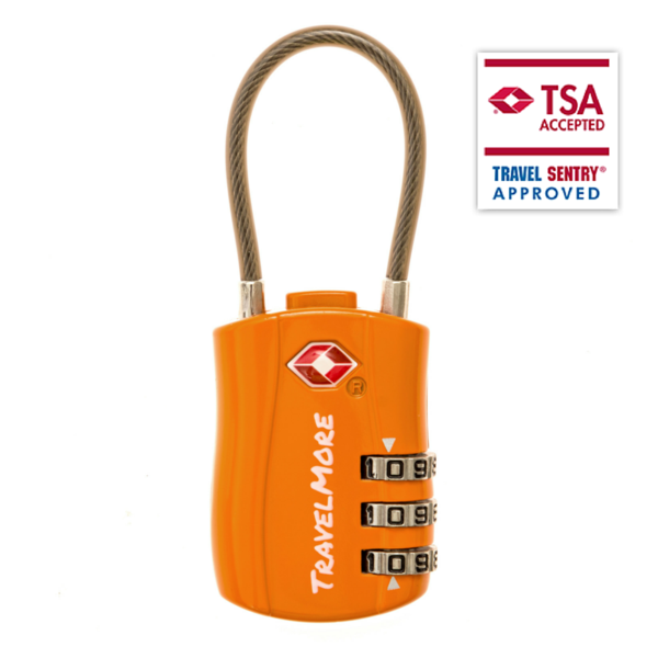 TSA Luggage Lock - 1 Pack Cable Orange Travel Locks