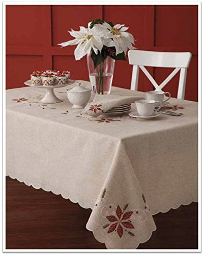 Lenox French Perle Poinsettia Embroidered Design Christmas ...