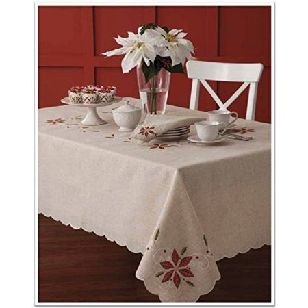 lenox french perle poinsettia embroidered design christmas tablecloth 52 x