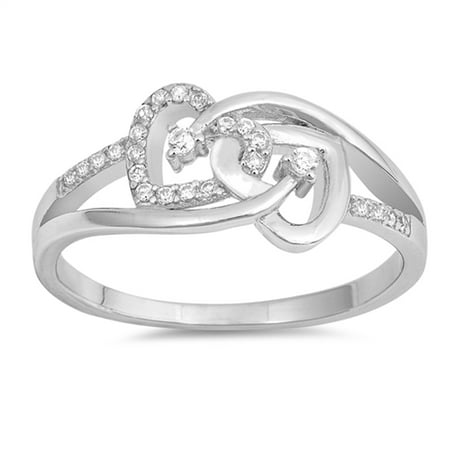 White CZ Interlocking Infinity Heart Promise Sterling Silver Ring ( Sizes 4 5 6 7 8 9 10 ) Rings by Sac Silver (Size 5)