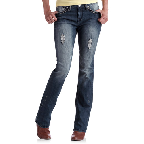 Red Rivet Contrast Stitch Embroidered Pocket Bootcut Jeans