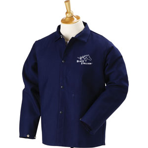 "Black Stallion FN9-30C 30"" 9oz. Navy FR Cotton Welding Jacket, X-Large"