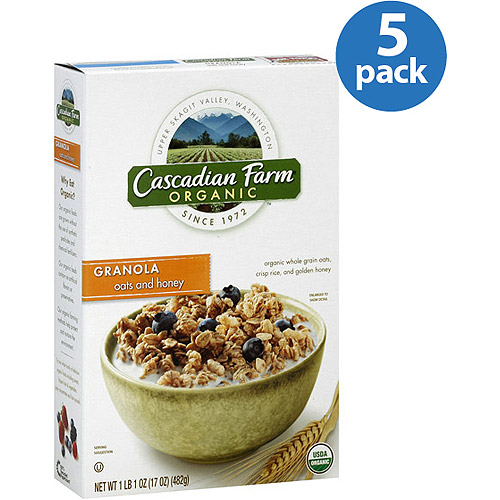 Cascadian Farm Organic Oats and Honey Granola Cereal, 17 oz, (Pack of 5)