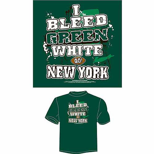 "New York Football ""I Bleed Blue, White and Red, Go New York"" T-Shirt, Green"