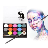 WATER BASED Face Paint Kit Professional Water Based Body Paint 15 Colors Washable Paints 2 Paintbrush