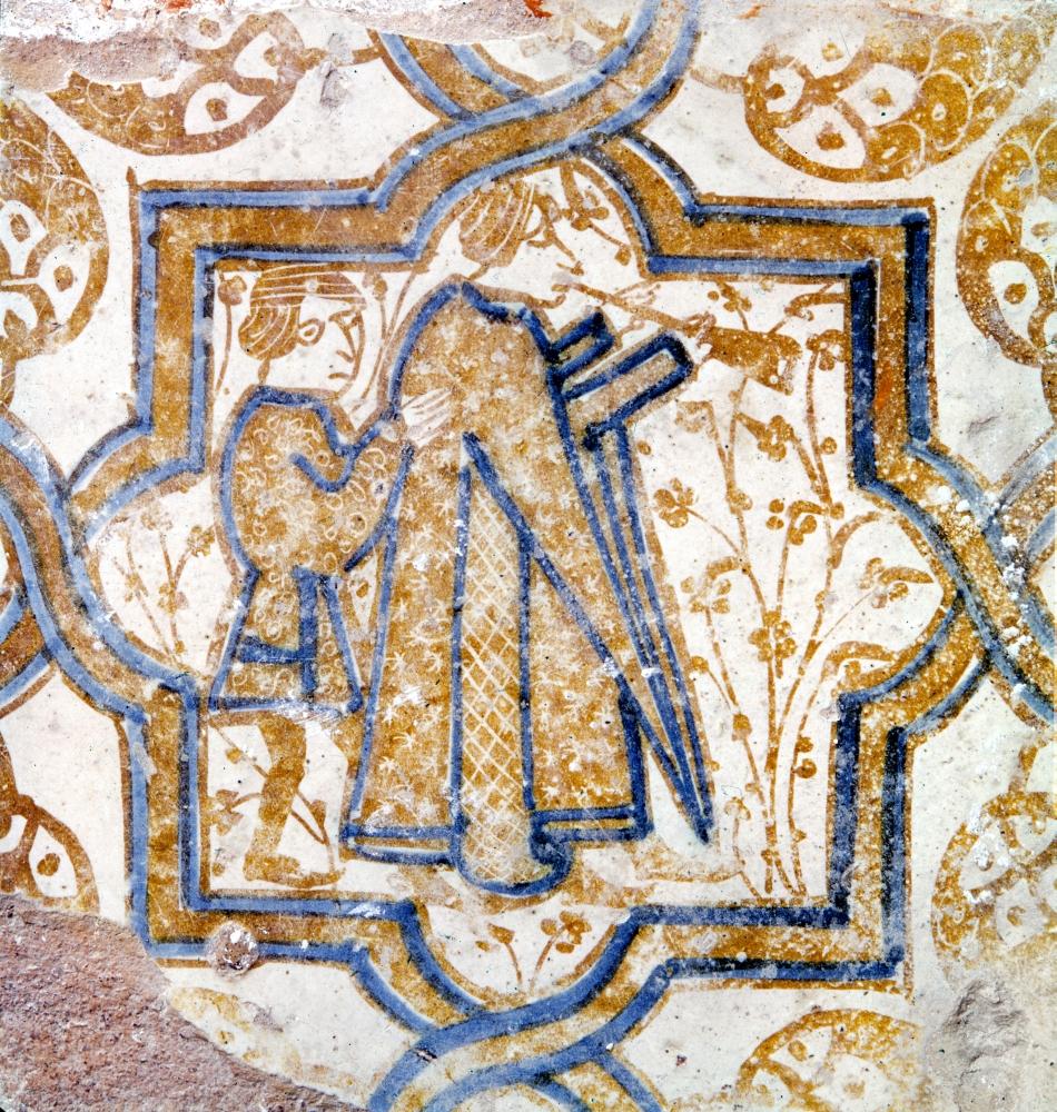 Stretched Canvas Art - Spain: Mudejar Tiles. /Nmudejar (Moorish) Tile Depicting Musicians, Spanish, 14Th Century. - Large 24 x 36 inch Wall Art Decor Size.