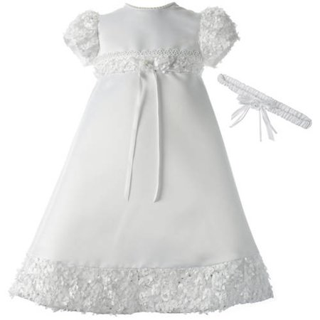 Christening Baptism Newborn Baby Girl Special Occasion Satin Dress Gown Outfit With Floral Soutache Trim (Next Christening Dresses)