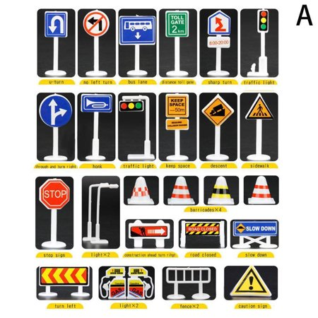 Toy Traffic Light (28 Pcs Car Toy Accessories Traffic Road Signs Kids Children Play Learn Toy)