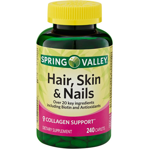 Spring Valley Hair, Skin & Nails Plus Biotin Dietary Supplement Caplets, 240 count