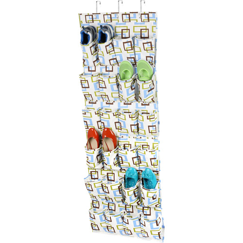 Honey Can Do 24 Pocket Over-The-Door Closet Organizer, Green/Brown/Blue