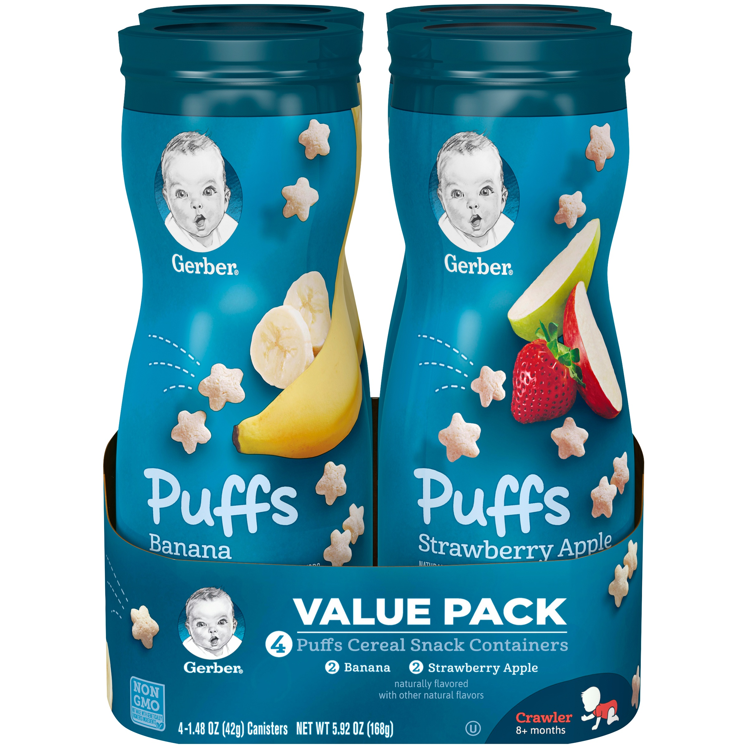 (4 Canisters) Gerber Puffs Banana/Strawberry Apple Cereal