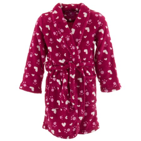 Red Fleece Bath Robe (Chili Peppers Girls Red Hearts Paw Prints Fleece Bathrobe )