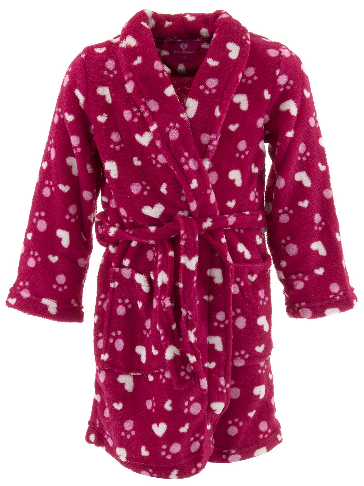 Chili Peppers Girls Red Hearts Paw Prints Fleece Bathrobe