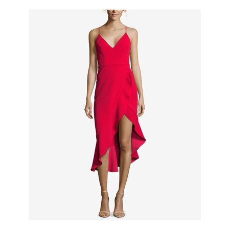 XSCAPE Womens Red Crepe Spaghetti Strap V Neck Midi Party Dress  Size: 8 Solid Crepe Dress